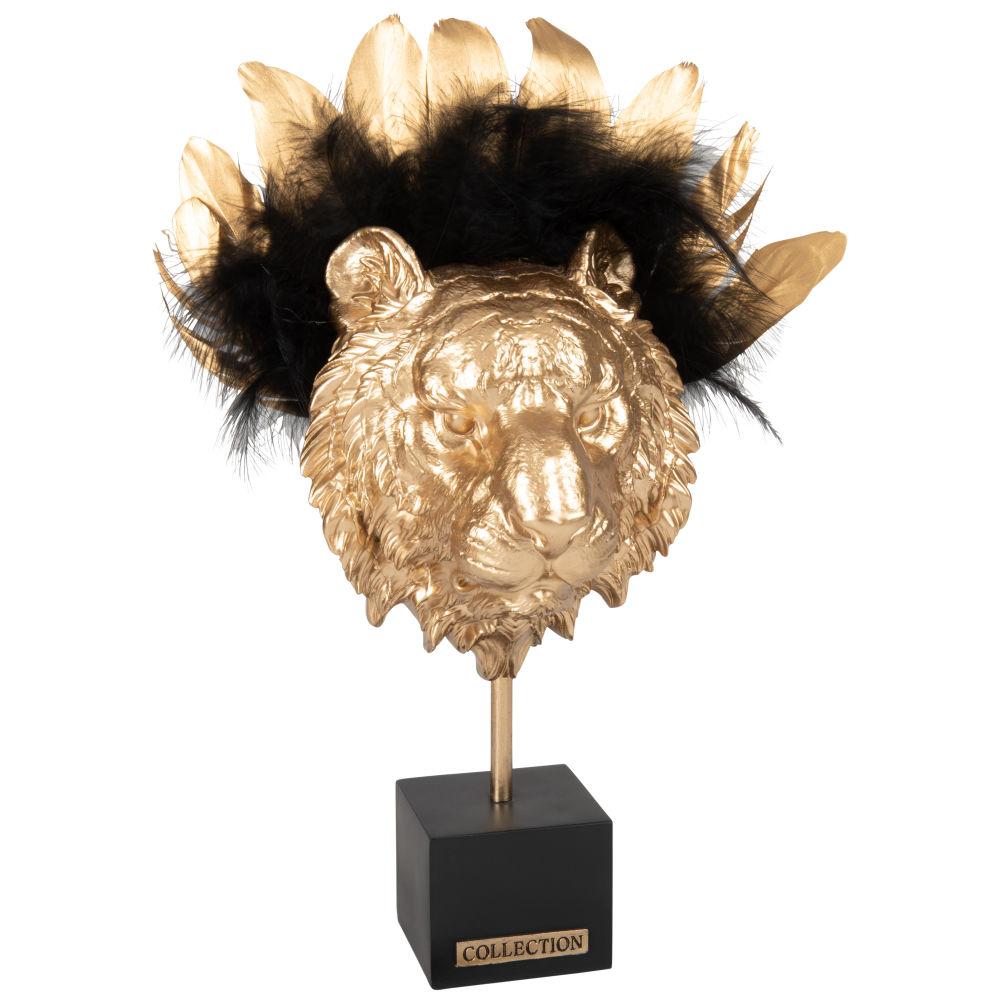 Statuette lion et plumes dorées et noires H38