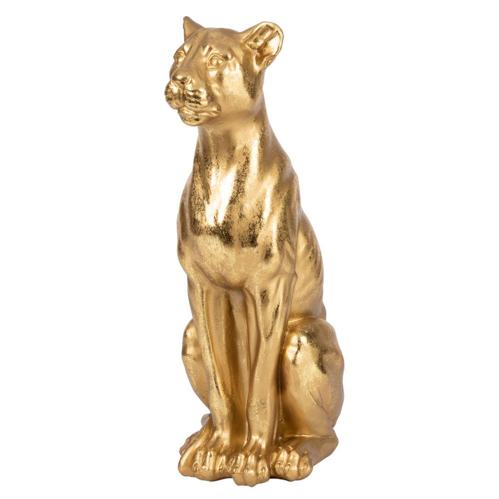 Statuette lionne dorée H39