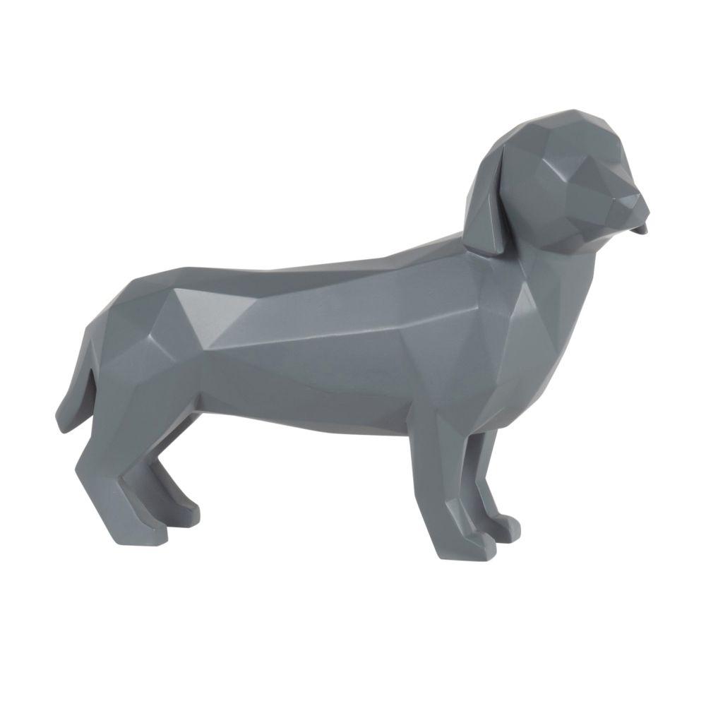 Statuette origami teckel gris anthracite H21