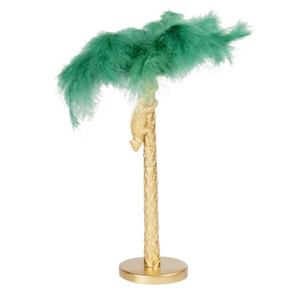 Statuette palmier doré et plumes vertes H35