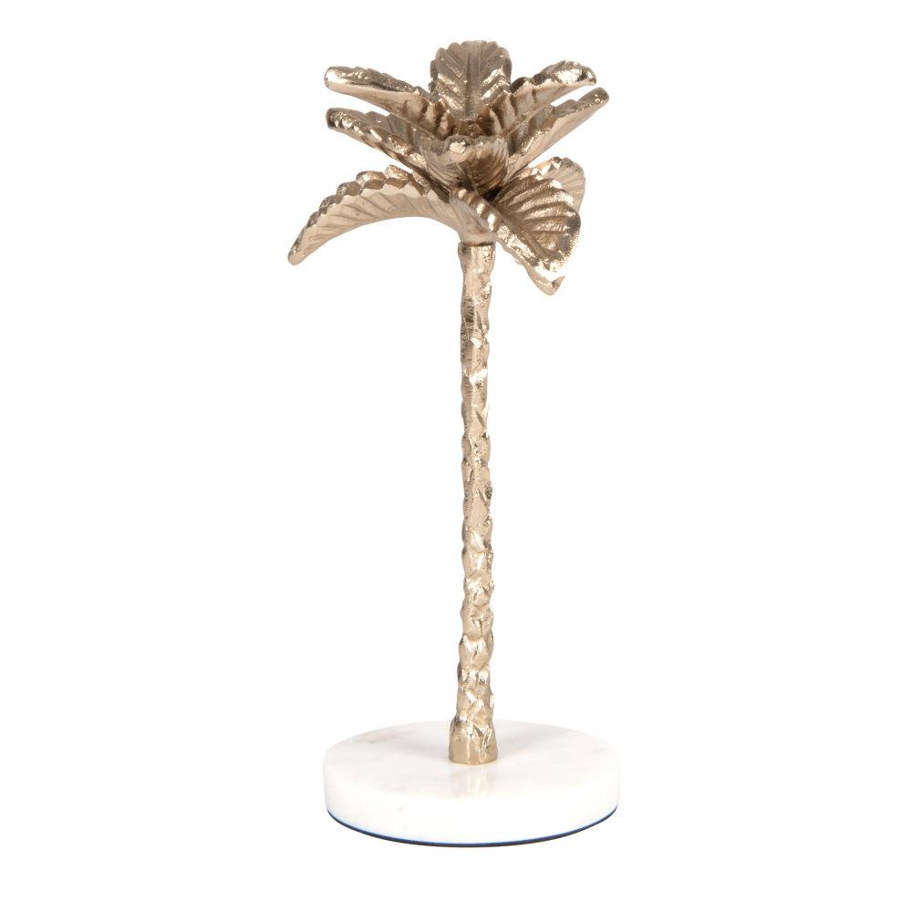 Statuette palmier en aluminium doré et marbre blanc H26