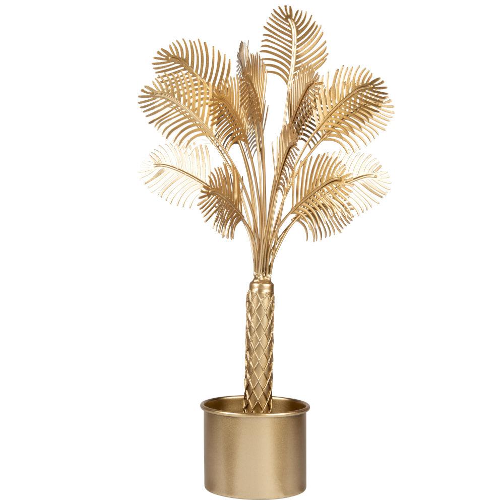Statuette palmier en métal doré H41
