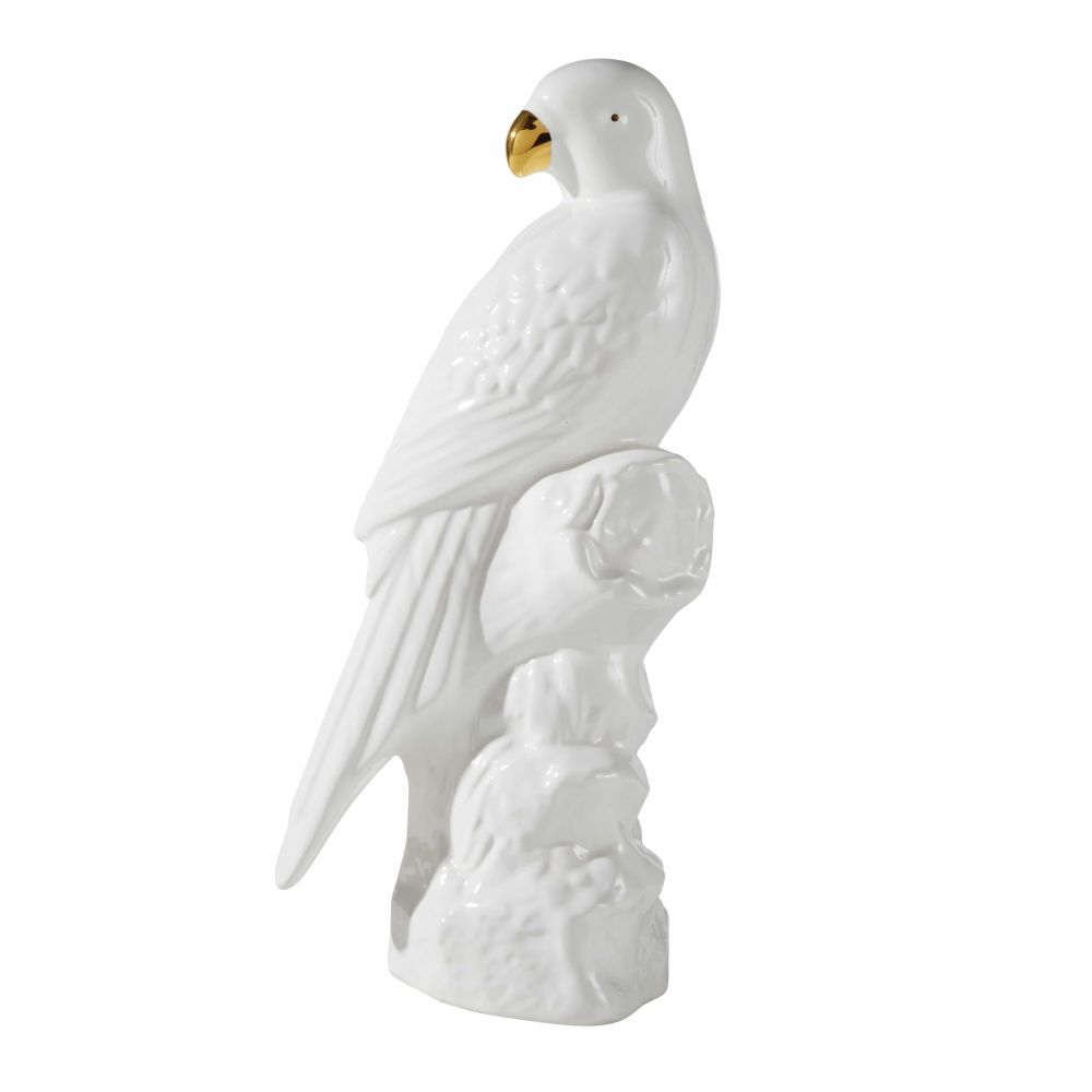 Statuette perroquet en céramique blanche H32