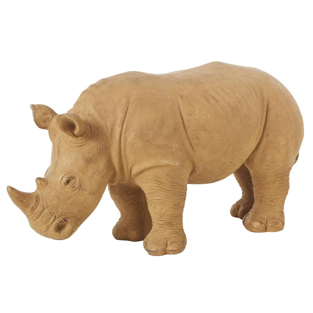 Statuette rhinocéros en magnésium beige H37