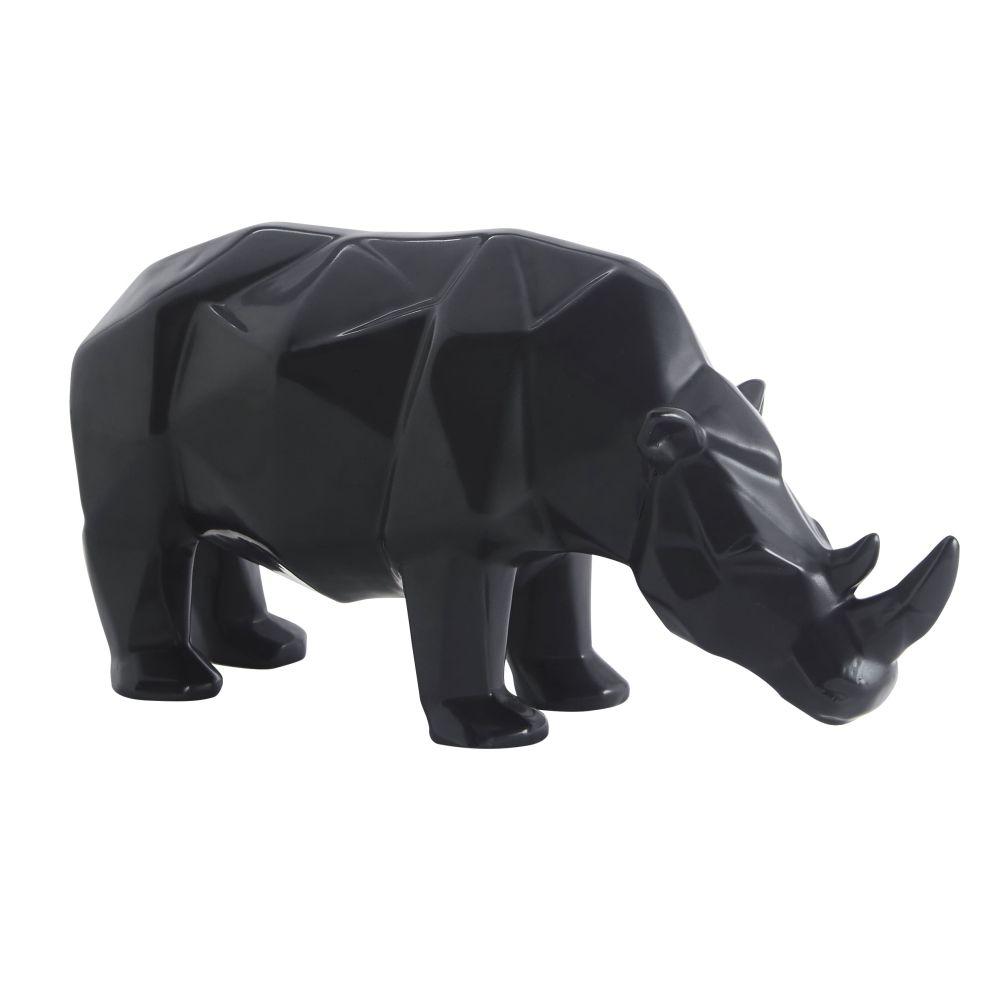 Statuette rhinocéros en porcelaine noire L16