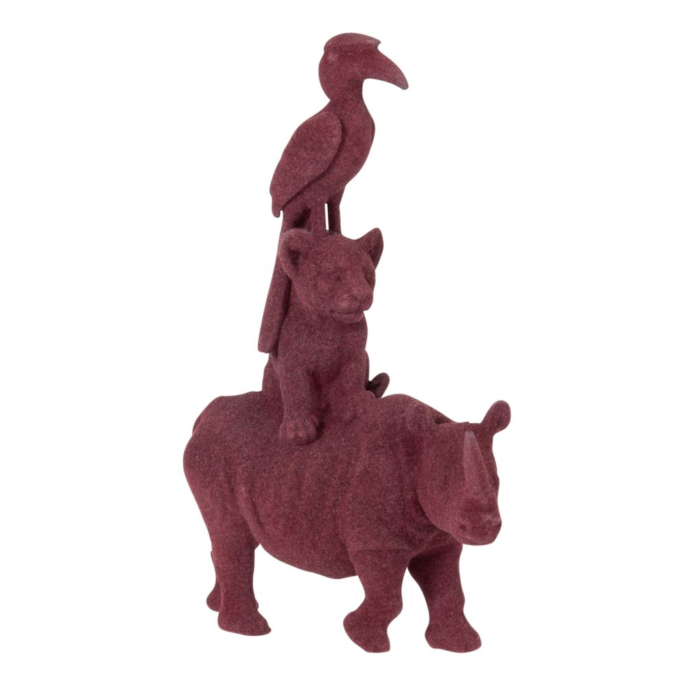 Statuette rhinocéros, lionceau et oiseau violet H14