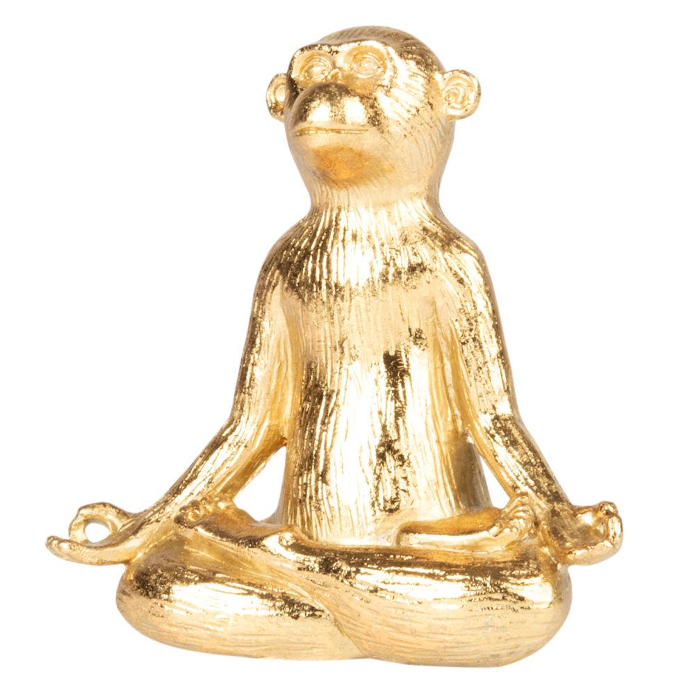 Statuette singe assis dorée H11