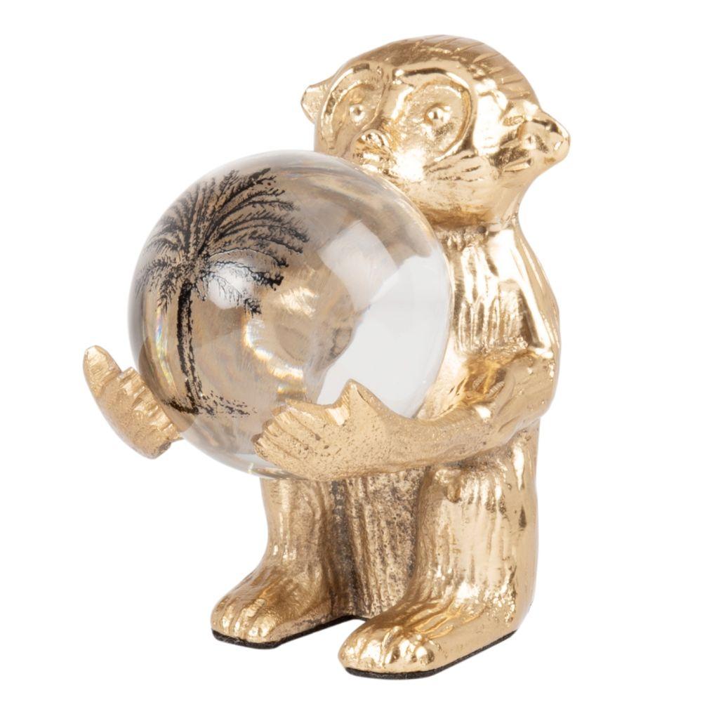 Statuette singe en aluminium doré et boule en verre imprimé végétal H15