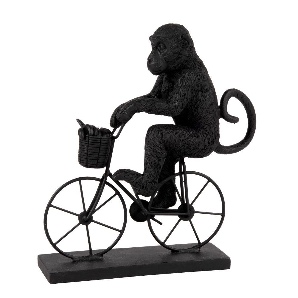Statuette singe et vélo noire H21