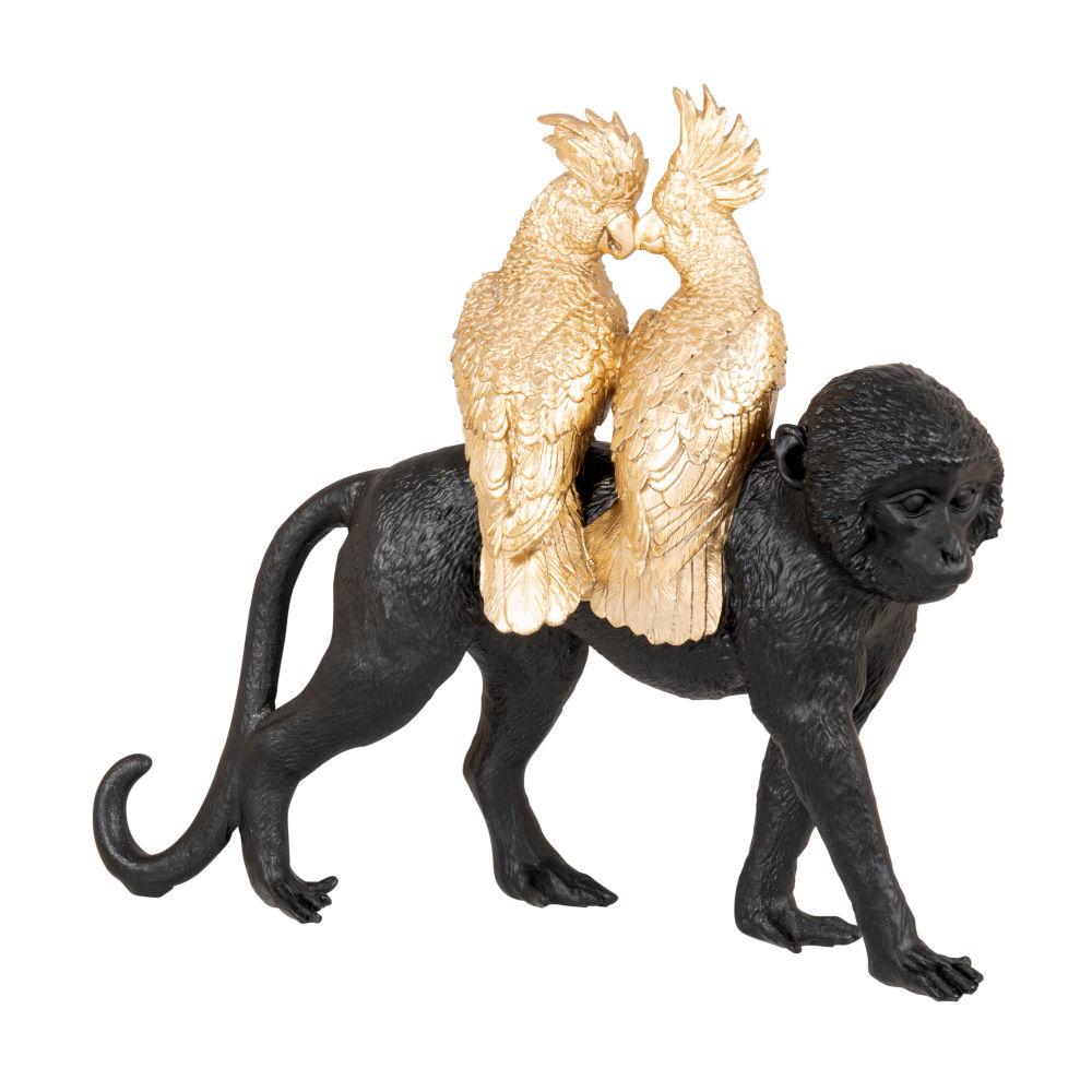 Statuette singe noir et perroquets dorés H26