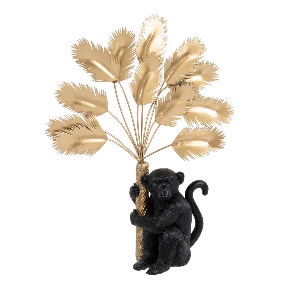 Statuette singe noir et plumes en métal doré H26