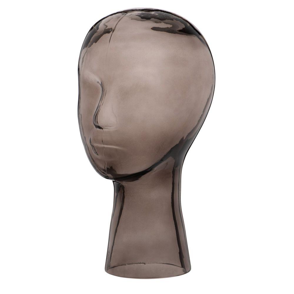 Statuette visage en verre fumé noir H30