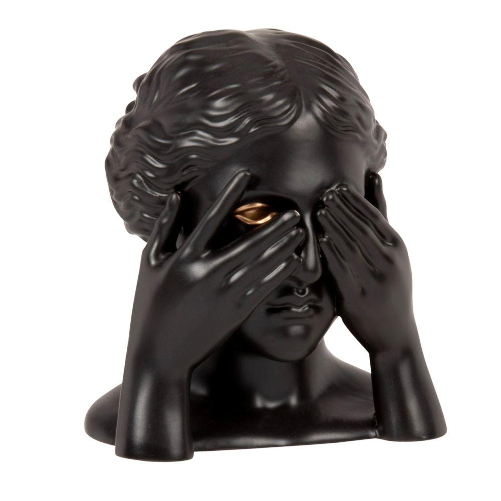 Statuette yeux femme en dolomite noire et dorée H14