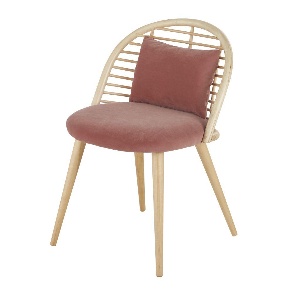 Stuhl, terrakottafarbener Samt, Rattan und Birkenholz