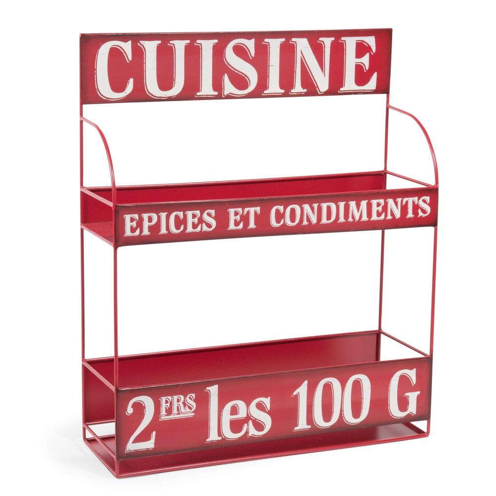 Support à épices en métal rouge H 43 cm