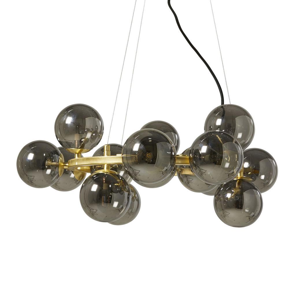 Suspension 15 globes en verre teinté noir et métal doré