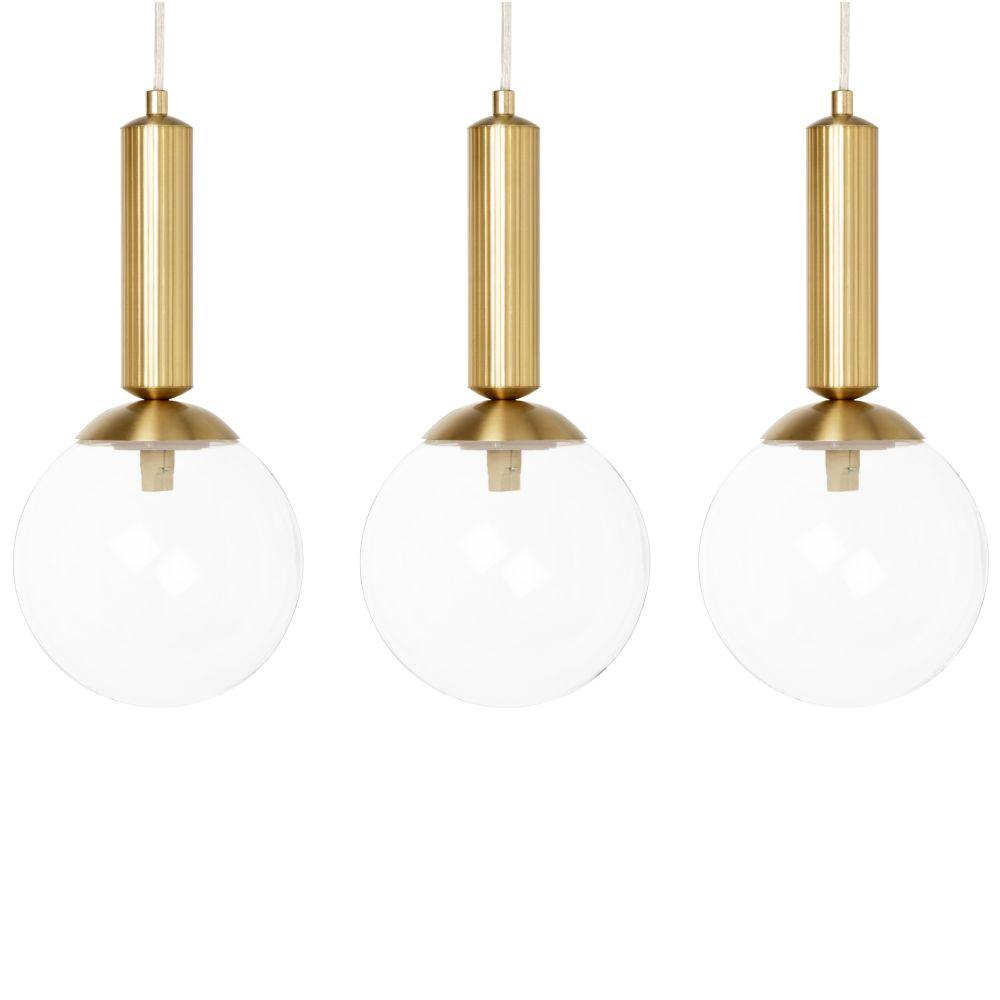 Suspension 3 globes en verre et métal doré