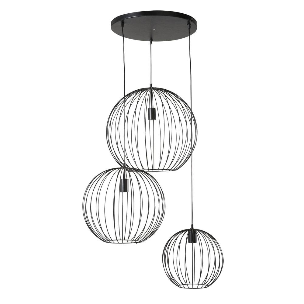 Suspension 3 globes filaires noirs