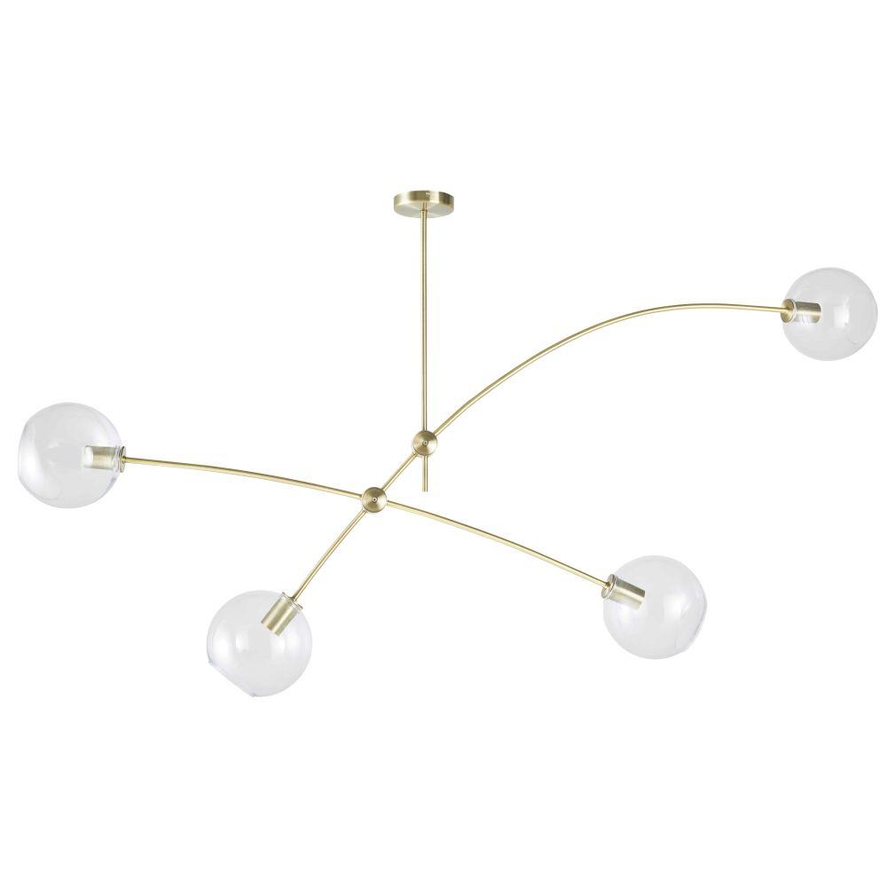 Suspension 4 globes en verre et métal doré