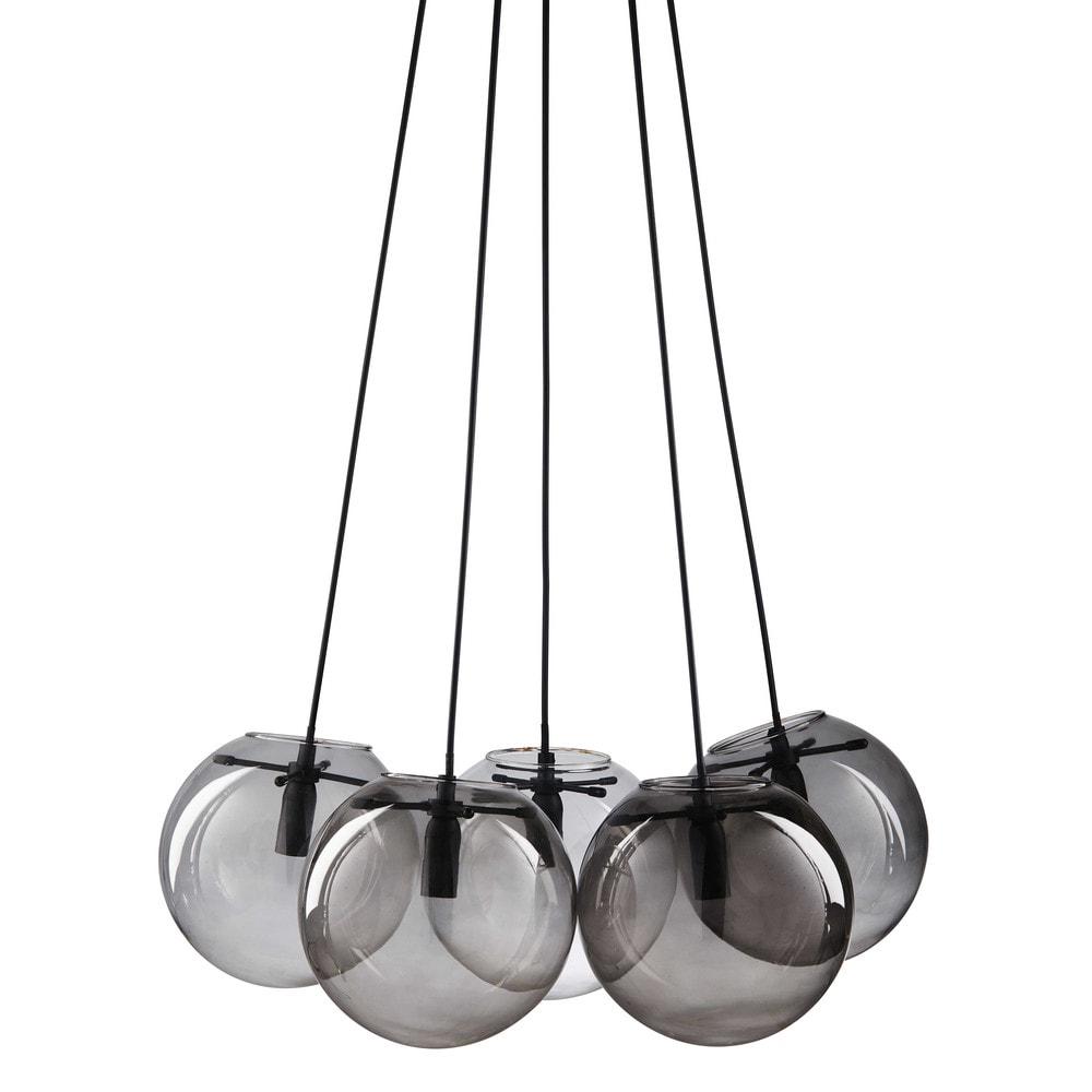 Suspension 5 boules en verre et verre fumé