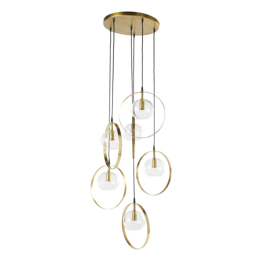 Suspension 6 globes en verre et métal doré