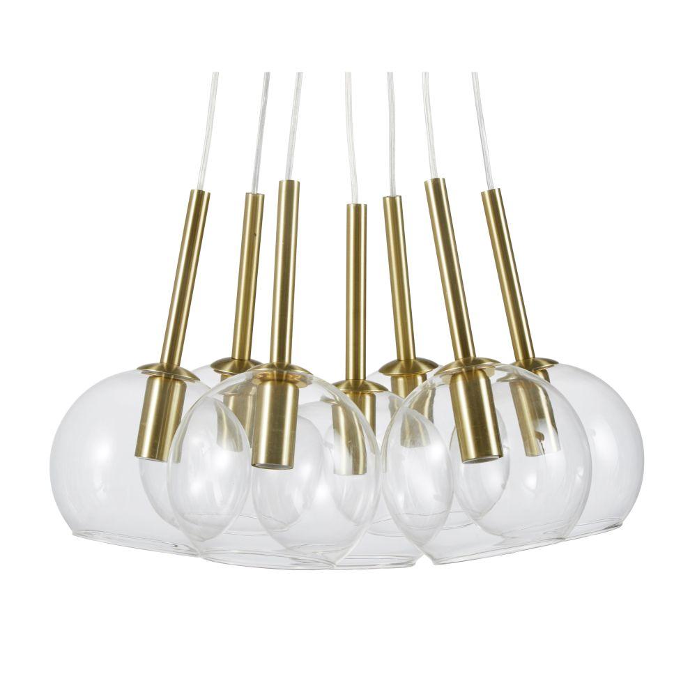 Suspension 7 globes en verre et métal doré