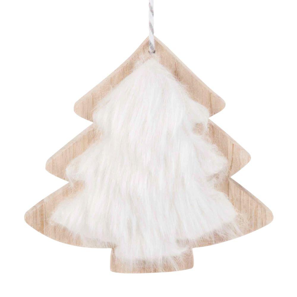 Suspension arbre de Noël imitation fourrure blanche