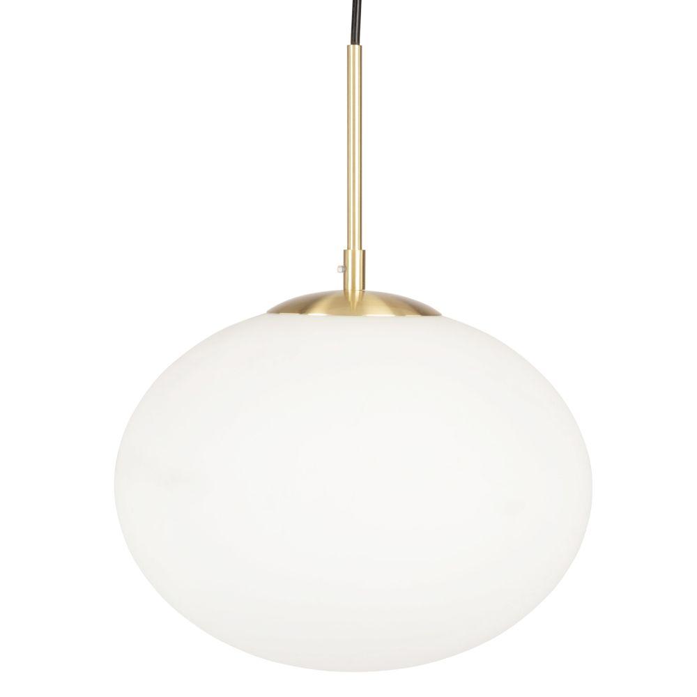 Suspension boule en verre blanc et métal doré
