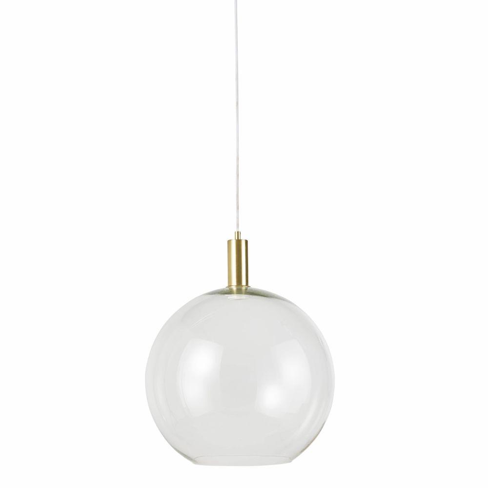 Suspension boule en verre et métal doré D40
