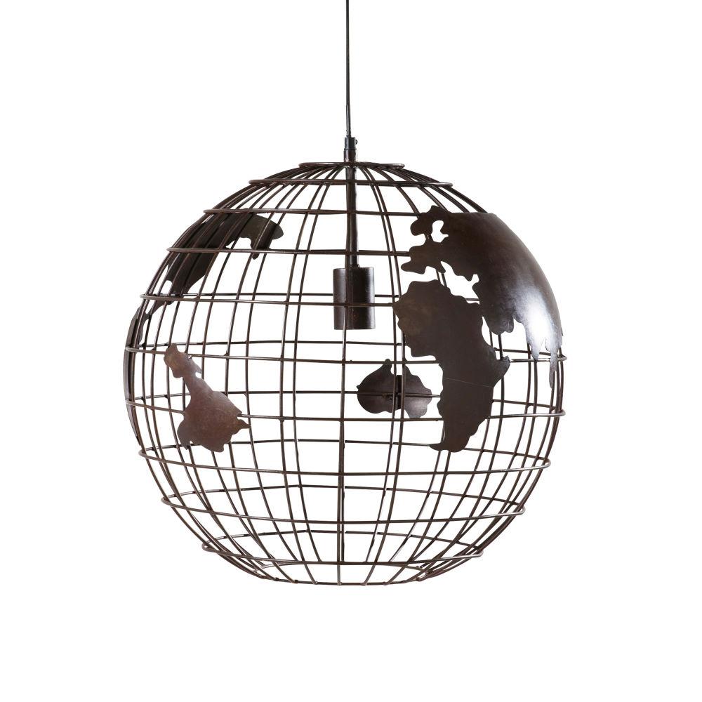 Suspension carte du monde en métal noir