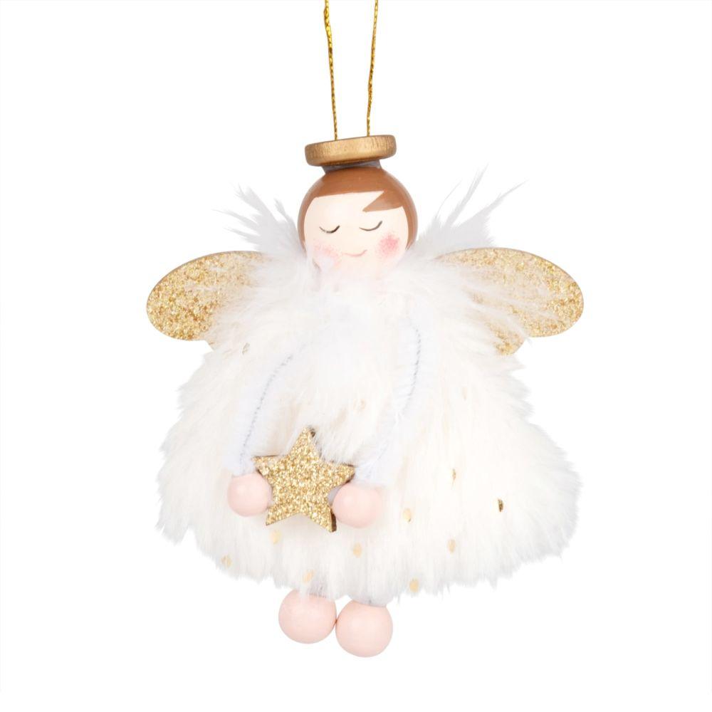 Suspension de Noël ange blanc et doré