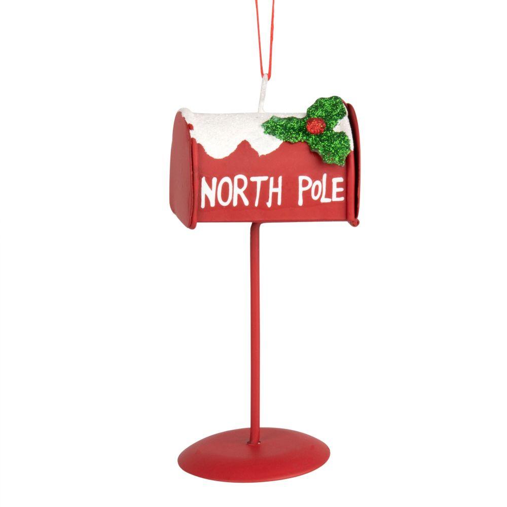 Suspension de Noël boîte aux lettres en métal rouge