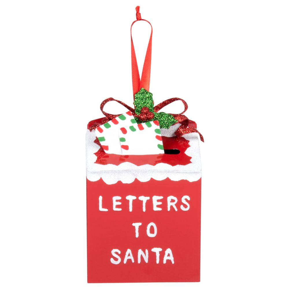 Suspension de Noël boîte aux lettres en métal rouge et blanc