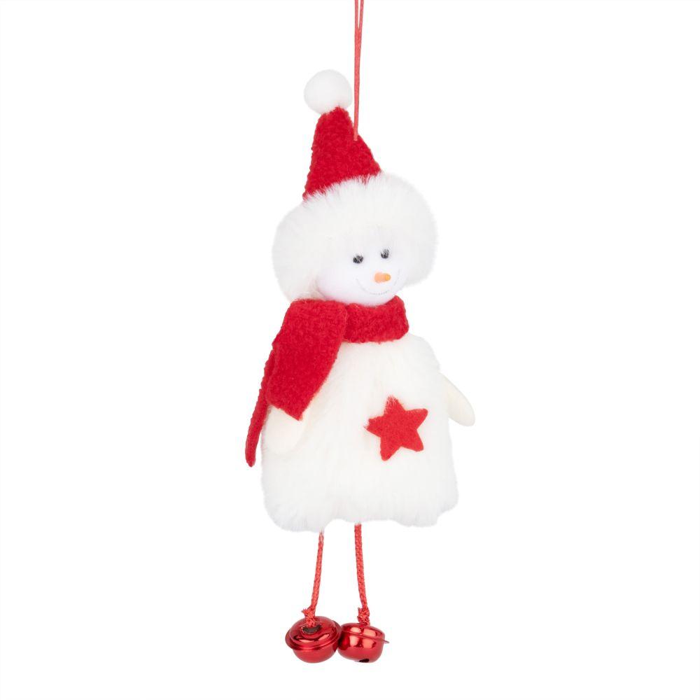 Suspension de Noël bonhomme de neige rouge et blanc
