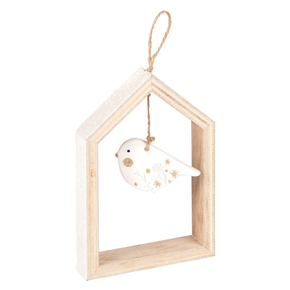 Suspension de Noël cabane et oiseau blanc