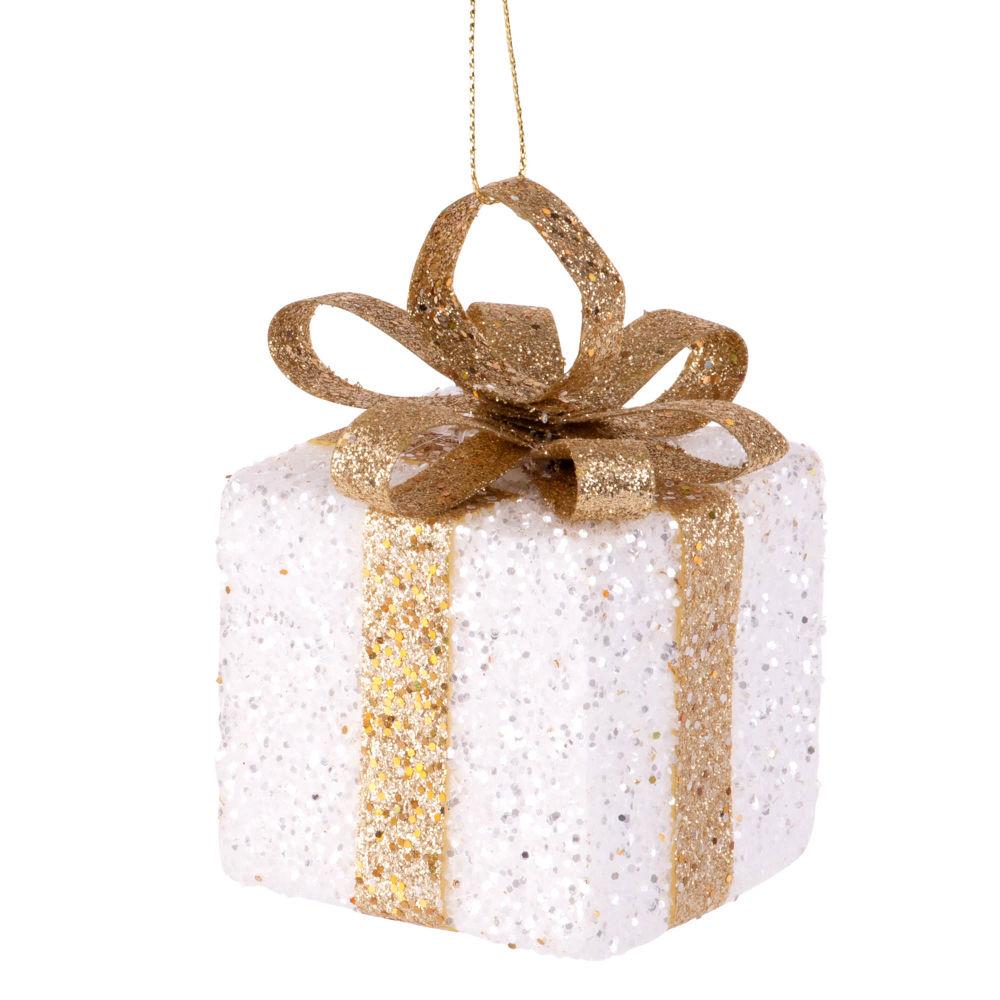 Suspension de Noël cadeau blanc et doré à paillettes