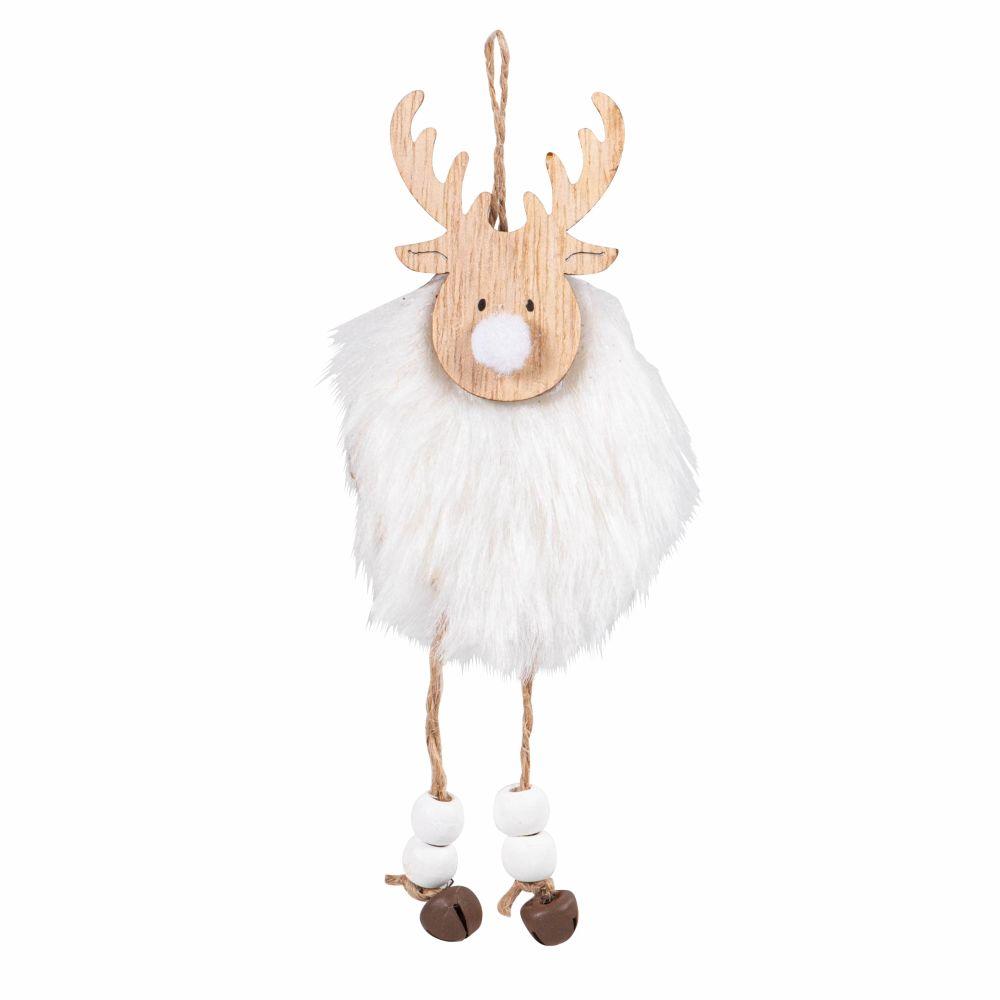 Suspension de Noël cerf beige et imitation fourrure blanche