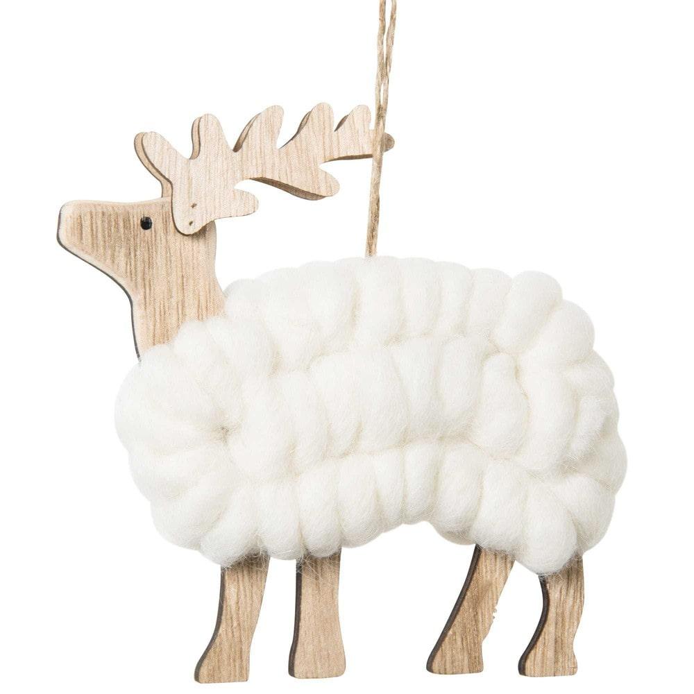 Suspension de Noël cerf en laine écrue