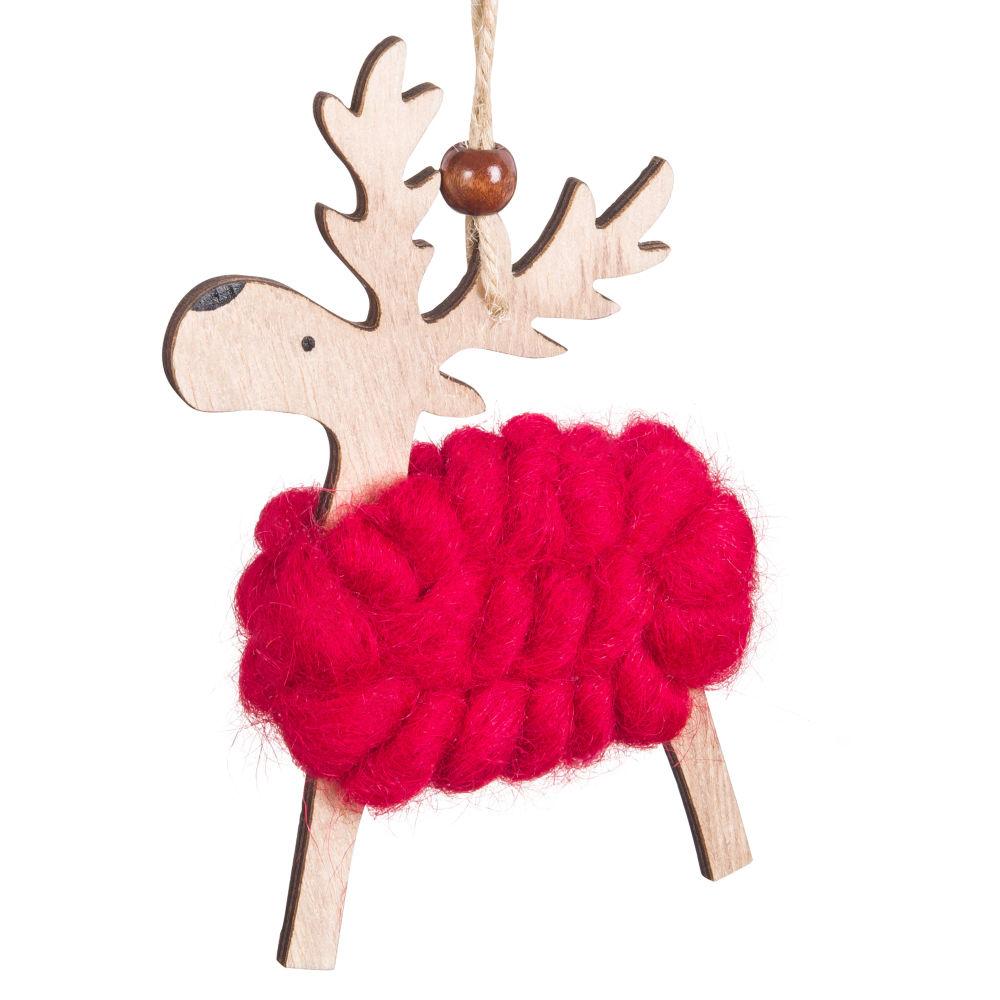 Suspension de Noël cerf en laine rouge