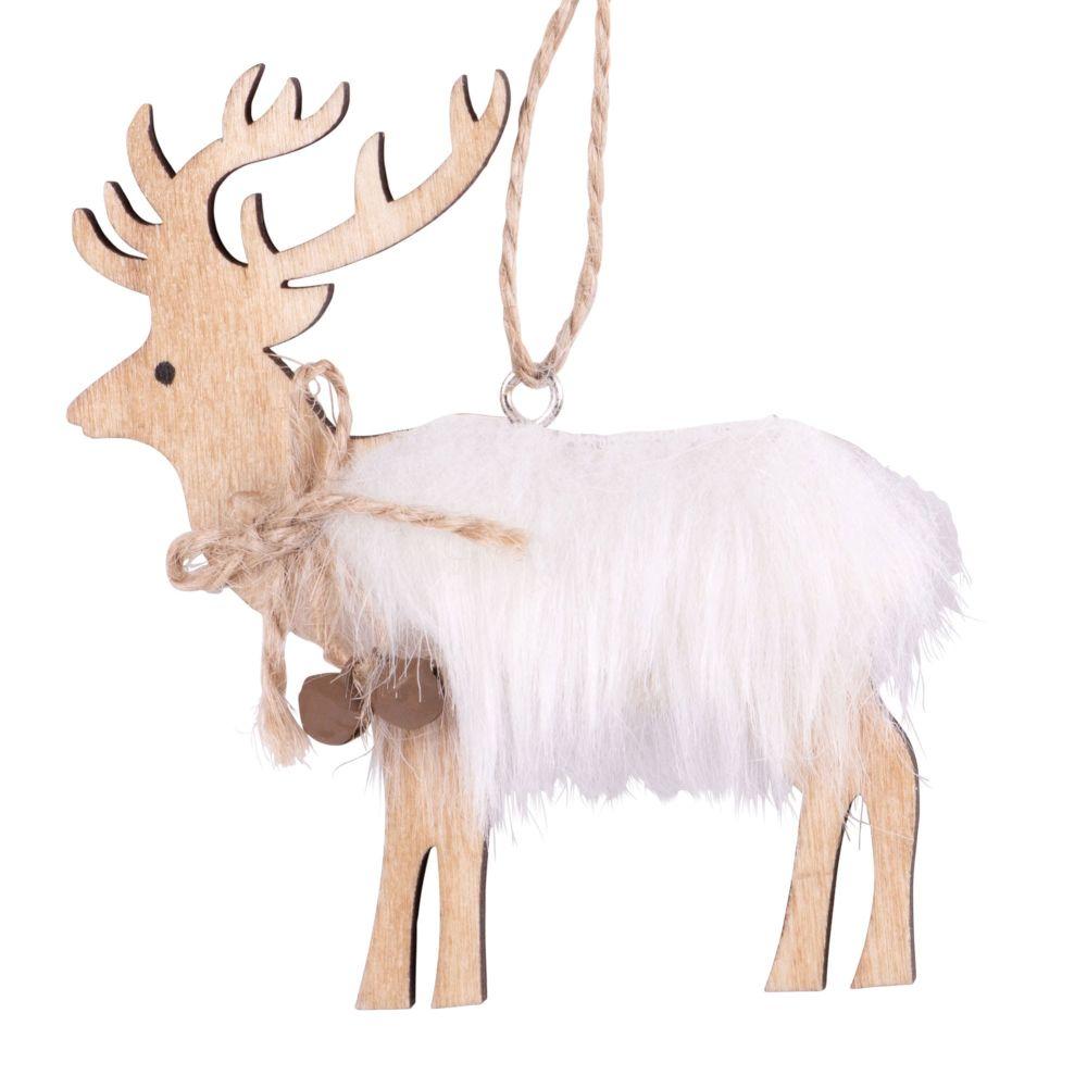 Suspension de Noël cerf et imitation fourrure blanche