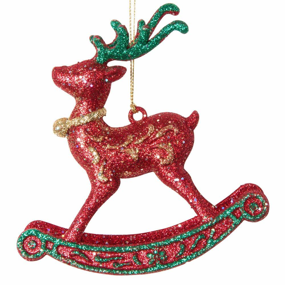 Suspension de Noël cheval à bascule à paillettes