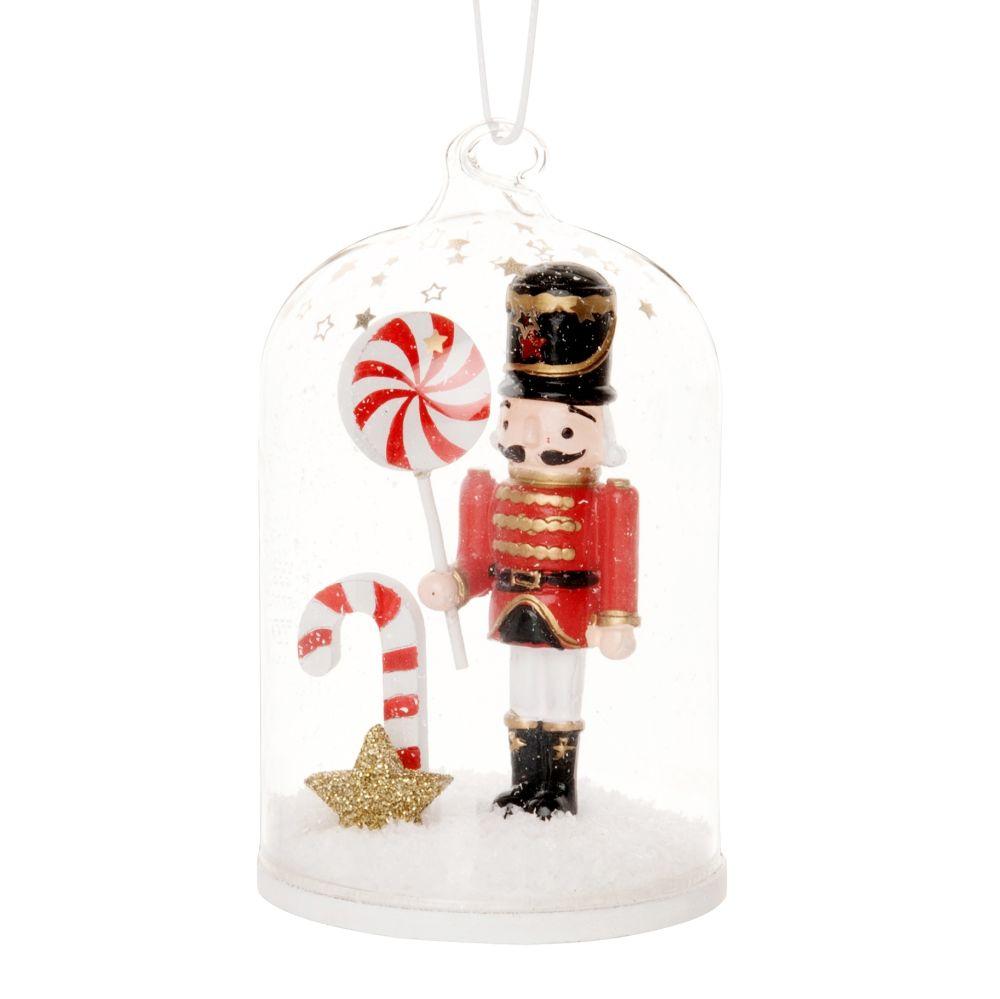 Suspension de Noël cloche en verre avec casse-noisette multicolore