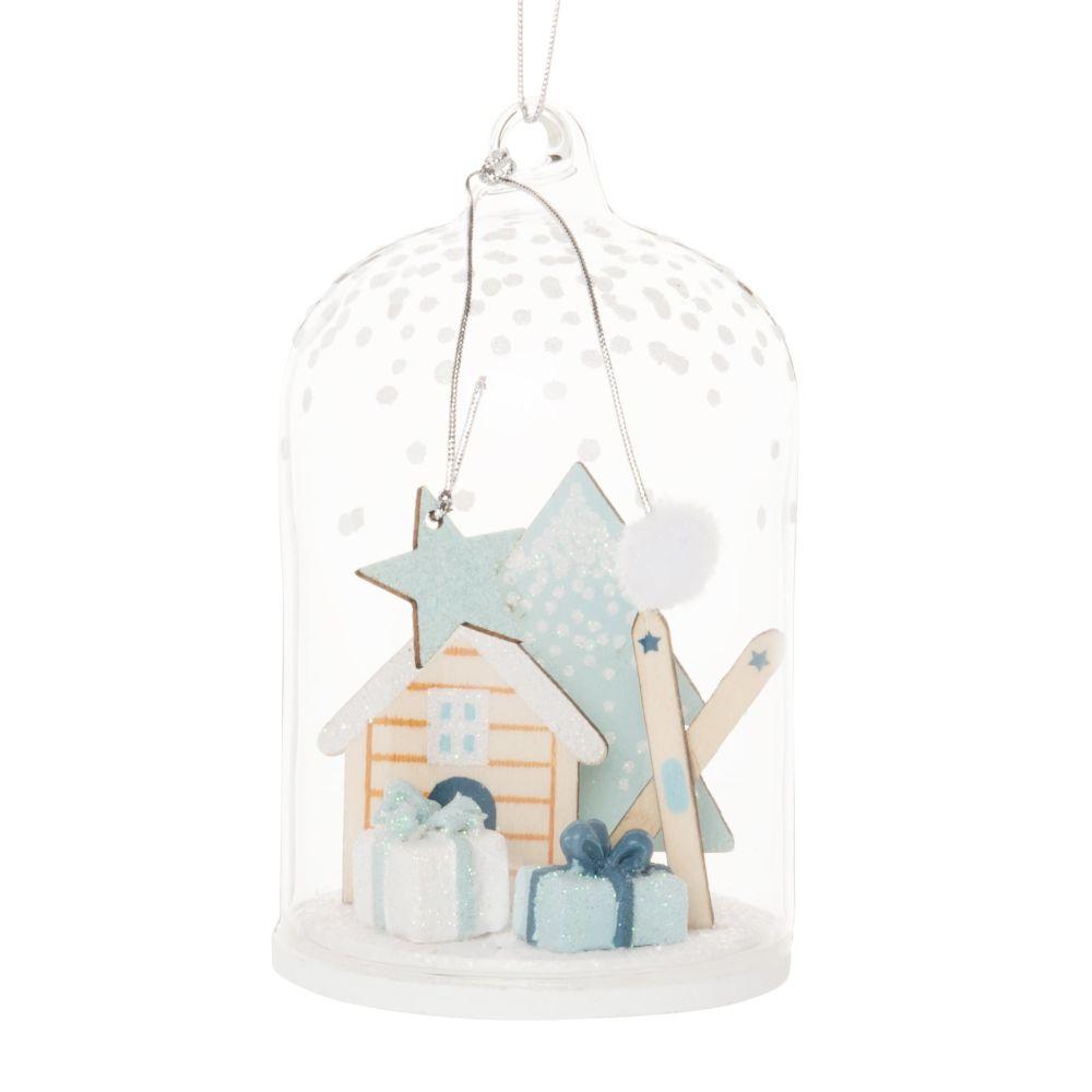 Suspension de Noël cloche en verre avec chalet blanc, bleu clair et bleu marine