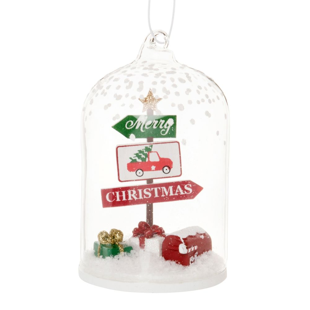 Suspension de Noël cloche en verre avec pancartes multicolores