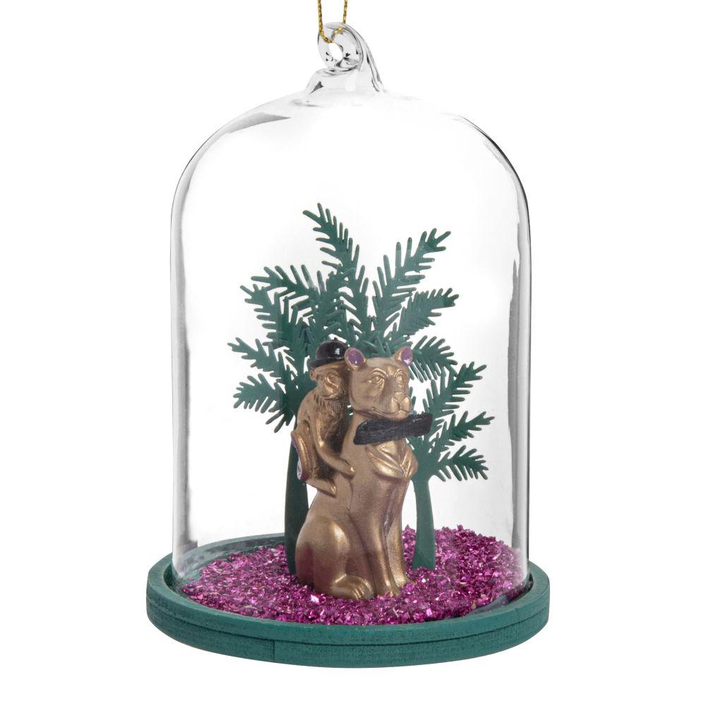 Suspension de Noël cloche en verre avec panthère et singe dorés, noirs et violets