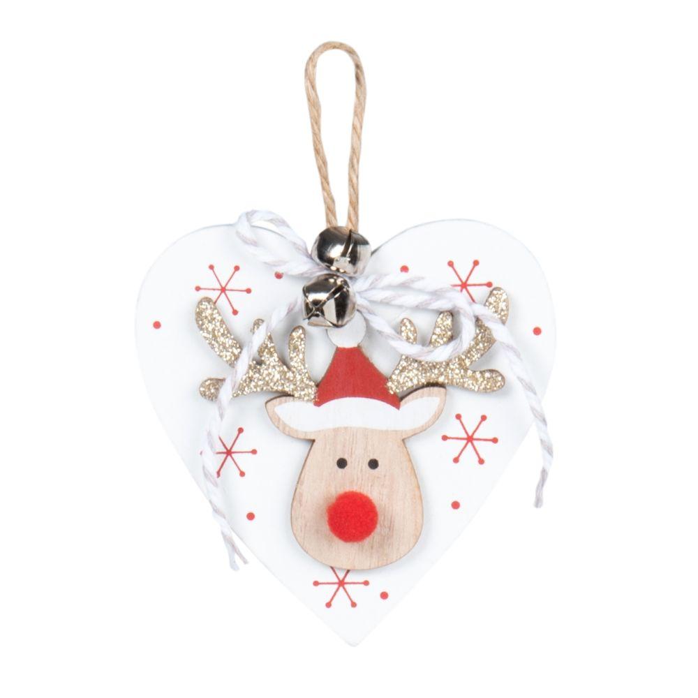 Suspension de Noël cœur et élan rouge et blanc