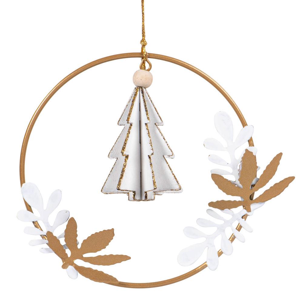 Suspension de Noël couronne avec sapin et feuillage blanc et doré