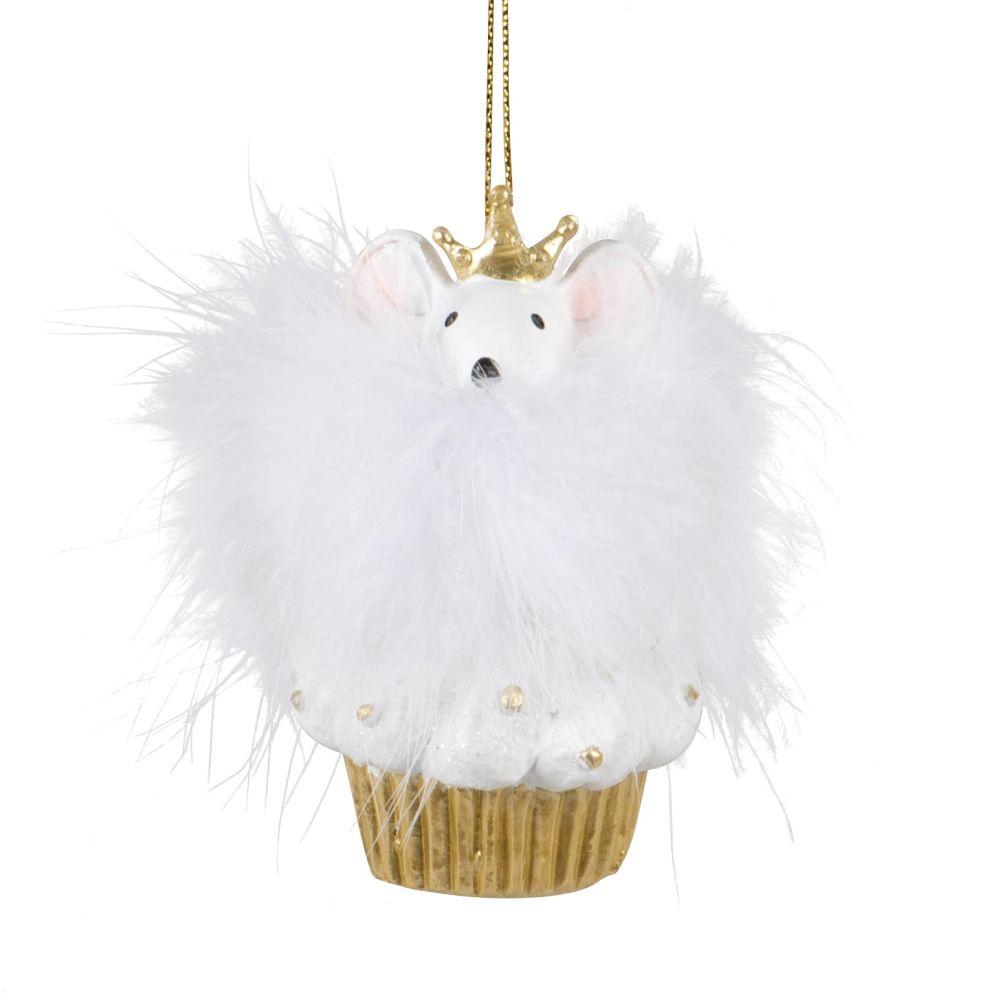 Suspension de Noël cupcake et souris blanche et dorée