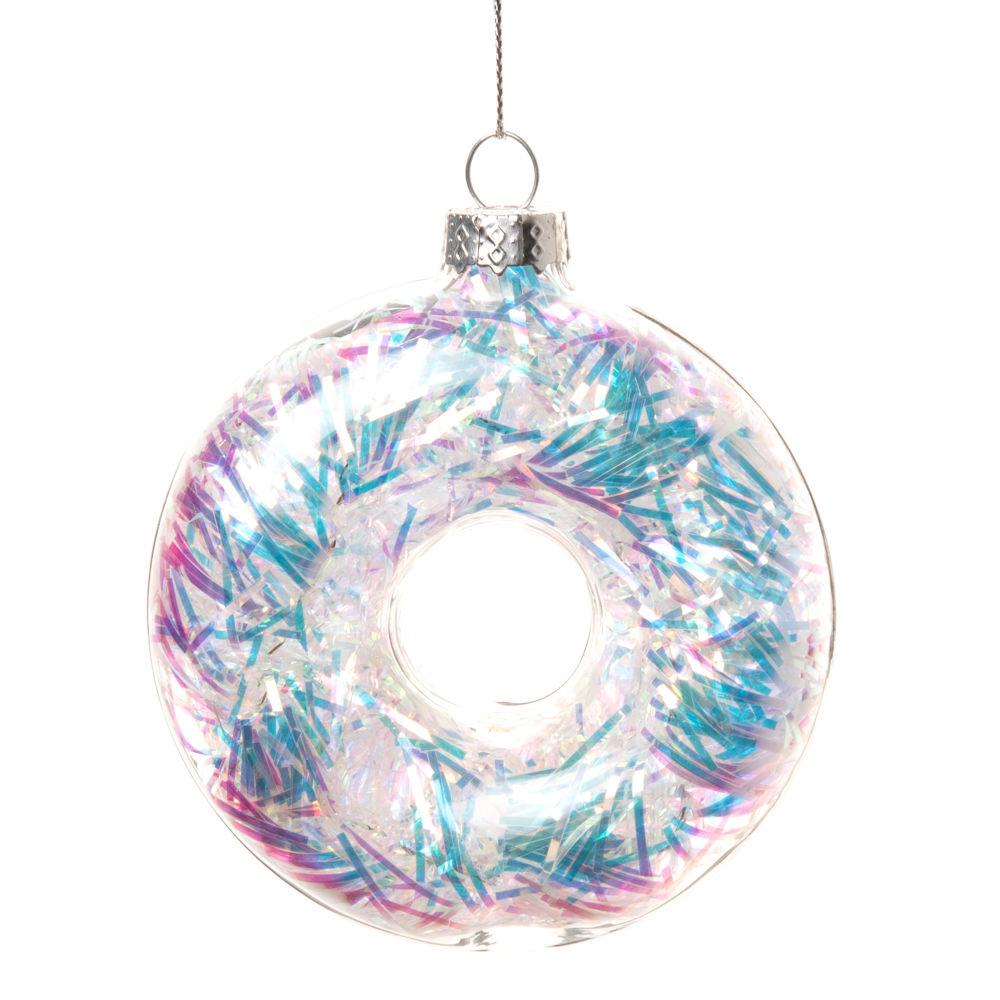 Suspension de Noël donuts en verre irisé multicolore