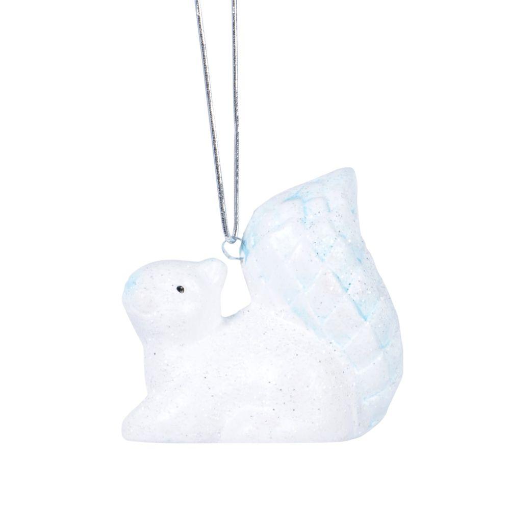 Suspension de Noël écureuil blanc et irisé